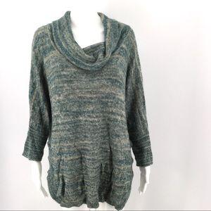 THISTLE & LAVENDER Sweater L Off Shoulder Cowl